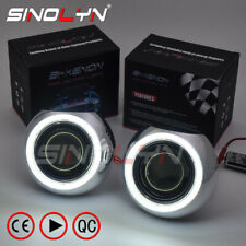 Upgraded 8.0 Bi-Xenon HID Projector Lens Kit Hi/Low Dual Beam LED Angel Eyes DIY