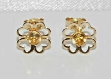 9ct Gold Citrine 4 Leaf Clover Ladies Stud Earrings - Solid 9K Gold