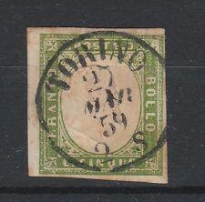FRANCOBOLLI 1859 SARDEGNA 5 C. VERDEGIALLO Z/356