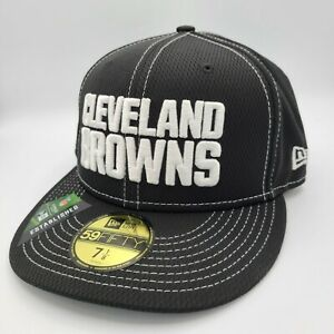 Cleveland Browns Hat New Era 59Fifty Fitted Cap 7-1/8 NFL Black White Stitching