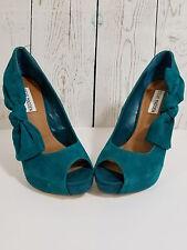 Women's Steve Madden Bo Derek Blue Turquoise Suede Heels With Side Bows Sz 8