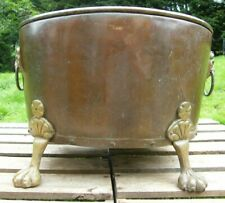 More details for  a large georgian riveted brass country house log bin bucket garden planter