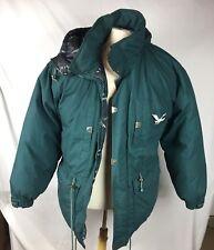 Vintage Triple Goose Down Womens Green Jacket Coat Hood Parka Front Zipper Ski