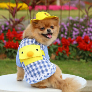 Cute Plaid Pet Dog Shirt Vest Clothes Yellow Duck with Hat Puppy Cat Tshirt Coat