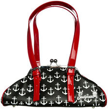 78074 Black with White Anchors Galley Ho Purse Sourpuss Pinup Rockabilly Sailor