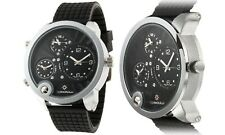 NEW Bernoulli 9788 Men 3-Time Zone Chronograph Chimera Series Silver/Black Watch