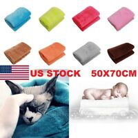US hot Super Soft Solid Warm Micro Plush Fleece Blanket Throw Rug Sofa Bedding