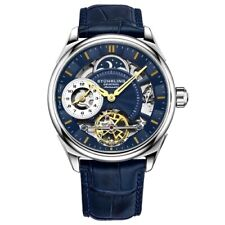 Stuhrling 943A 02 Dual Time AM PM Atutomatic Skeleton Blue Leather Mens Watch