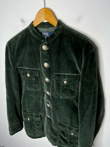 Polo Ralph Lauren Small Green Corduroy Military Band Jacket Coat Rugby RRL VTG