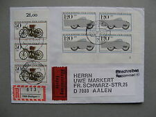 GERMANY BRD, expresse R-cover 1983, 3x50 Pf+ block of 4 120Pf motorcycle Pl No 2