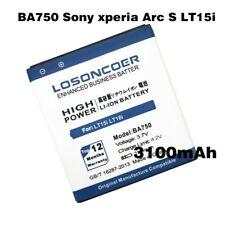 LOSONCOER 3100mAh BA750 Mobile Phone Battery Use for Sony Ericsson xperia Arc S
