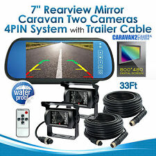 Car Rear View Mirror Monitor 4Pin 7 Inch+2x IR Reversing CCD Camera 10M for Tuck