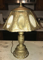 "Antique Cast Iron, Pewter 8 Panel Slag Glass Arts & Craft 16"" Boudoir Table Lamp"