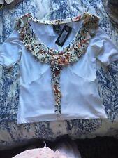 Just Cavalli Top Ruffle White Size 48 Us M