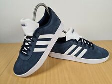 New Boys Adidas Performance Navy Vl Court 2.0 Suede Trainers Lace Up UK 5.5