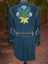 RARE Western Corduroy Embroidered Studs Long Duster Coat Jacket~L~Double D Ranch