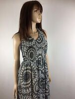 Queen's Family Maxi Dress Size S Grey White Lined Sleeveless Long