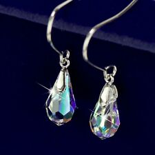 18k white gold gp made with SWAROVSKI crystal drop dangle hook earrings
