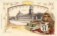 AK München, Volksbad mit Löwe, Krone und Münchner Kindl, nicht gel, ca. 1900