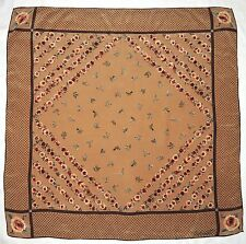 """Designer Signed FALCONETTO Polka Dots FLORAL Green Brown Crepe Silk 33"""" Scarf"""