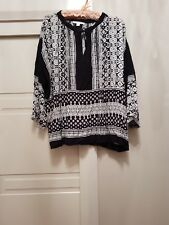 TRENERY BY COUNTRY ROAD SZ XXL BOHO Black & White Geo print SHIRT