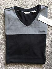 Calvin Klein Mens Gray Black Color Block Tee Shirt (L)