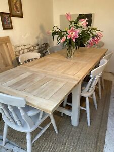 9.3 Solid Oak Extending Farmhouse Kitchen Dining Table And Chairs Refurbished