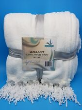 Ultra Soft Flannel Fringed Throw White 50x60 Serenity Home NEW
