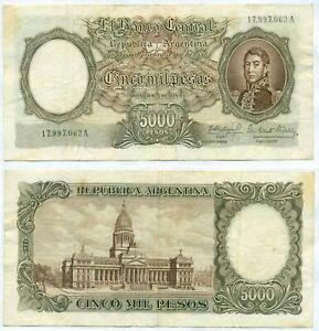 ARGENTINA NOTE 5000 PESOS (1964) FABREGAS-ELIZALDE B# 2174 SUFFIX A P 280a AVF