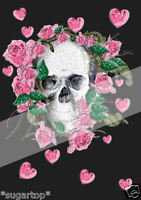 SKULL & ROSES EDIBLE Rice Paper / Icing Decorations Cake Toppers A4 Sheet