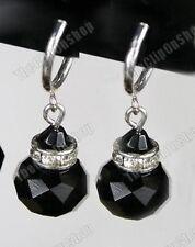 CLIP ON vintage look JET BLACK FACETED GLASS crystal EARRINGS rhinestone silver