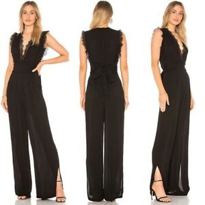 Free People CEM Lace Trim Plunge V-Neck Wide Leg Jumpsuit Sz6 NWT