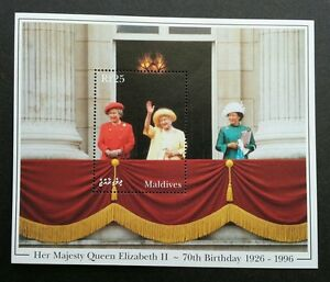 Maldives H.M Queen Elizabeth II 70th Birthday 1996 Royal Mother (ms) MNH