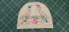 More details for large vintage hand embroidered  linen tea cosy cover