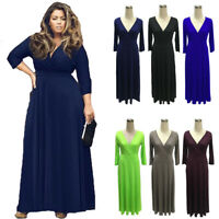 Plus Size Women V Neck Evening Party Long Maxi Dress Cocktail Ball Prom Gown New