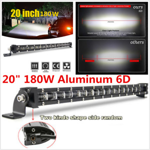 "Single Row 20"" 180W Aluminum 6D Spot Beam Slim LED Work Light Bar For Trucks"