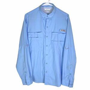 Columbia PFG Omni-Shade Fishing Shirt Mens Small Blue Vented Long Sleeve Poly