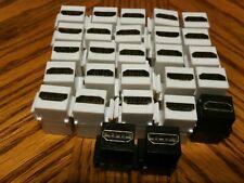 27 Pack HDMI Keystone Wall Plate Snap-In Jack Insert Coupler Female White black