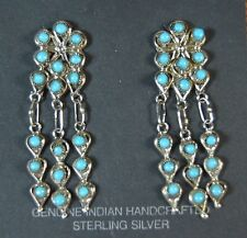 ZUNI Wayne Johnson Sterling Silver SB Turquoise Petit Point Dangle Earrings