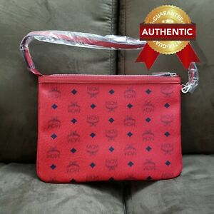 NEW Authentic MCM Pouch Clutch from reversible LIZ shopper set / Candy Red