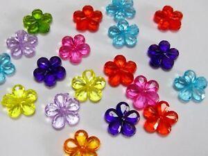 100 Mixed Colour Transparent Acrylic Charm Beads Various Shape Flower Heart