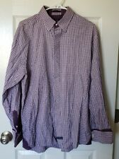 ENGLISH LAUNDRY Geometric Purple Men's Shirt Size XL