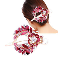 Women's Barrettes Hair Clips Pins Comb Slide Grips Flower Crystal Accessories
