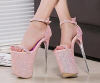 Women Platform Sequin Ankle Strappy Sexy Super High Heel Nightclub Stiletto Shoe