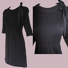 ZARA Black Ribbed Knitted Round Neck 3/4 Sleeve Comfortable Mini Tunic Dress L