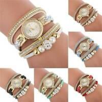 UK_Women Crystal Diamond Alloy Analog Quartz Watch Wrist Bracelets Xmas Gifts