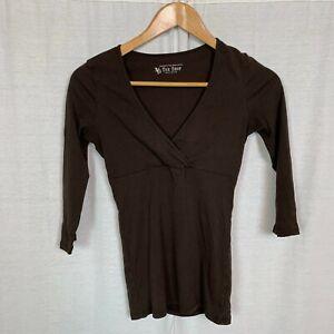Victoria's Secret Tee Shop Women's Brown 3/4 Sleeve V Neck Shirt Casual SMALL