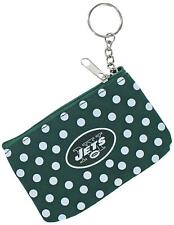 NFL New York Jets Coin Purse Keychain ID Wallet Polka Dot Pouch Change