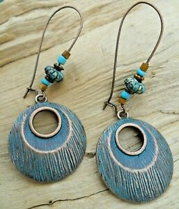 Antique Style Turquoise and Copper Effect Cutout Disc Beaded Earrings 6.5cm Drop