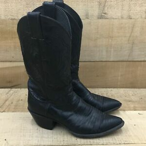 Justin Womens 4705 Black Leather Pull On Mid Calf Cowboy Western Boots Sz 7.5 B